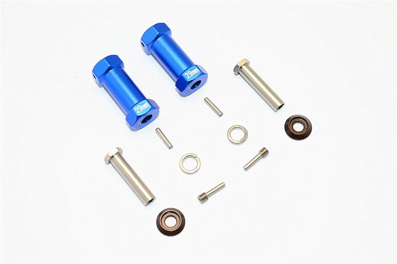 AXIAL Racing RR10 Bomber Aluminium Wheel Hex Adapters 29mm Width (Use For 4mm Thread Wheel Shaft & 5mm Hole Wheel) - 1pr set - GPM RR010/295