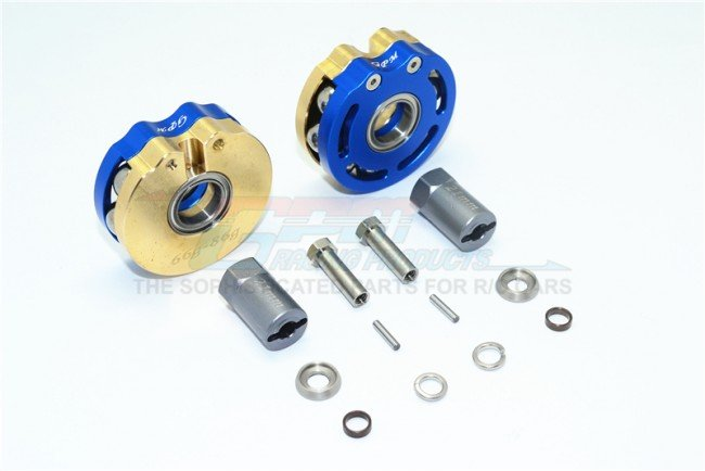 AXIAL Racing SCX10 Brass Pendulum Wheel Knuckle AXLE Weight With Alloy Lid + 21mm Hex Adapter - 14pc set - GPM SCX023AX