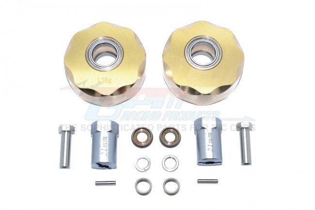 AXIAL Racing SCX10 Brass Pendulum Wheel Knuckle AXLE Weight + 21mm Hex Adapter - 14pc set - GPM SCX023X
