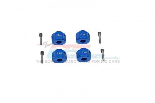 AXIAL Racing SCX10 III JEEP WRANGLER Aluminum Wheel Hex Adapters +3mm - 8pc - GPM SCX3010/+3M