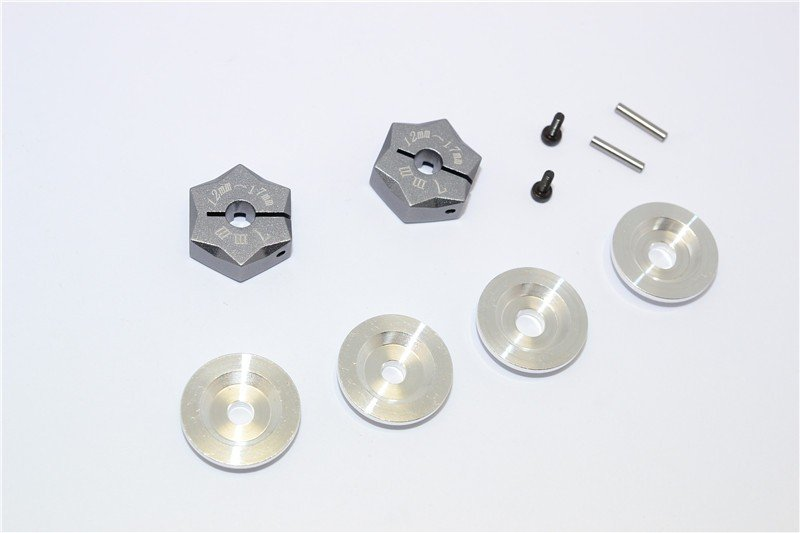 Aluminium Hex Adapter From 12mm Convert To 17mm With 7mm Thickness - 2pcs set - GPM ADT1217/7MM