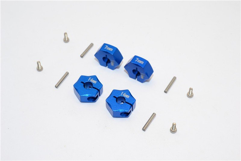 Aluminium Wheel Hex Adapter 14mmx7mm - 4pcs set - GPM HEX1407