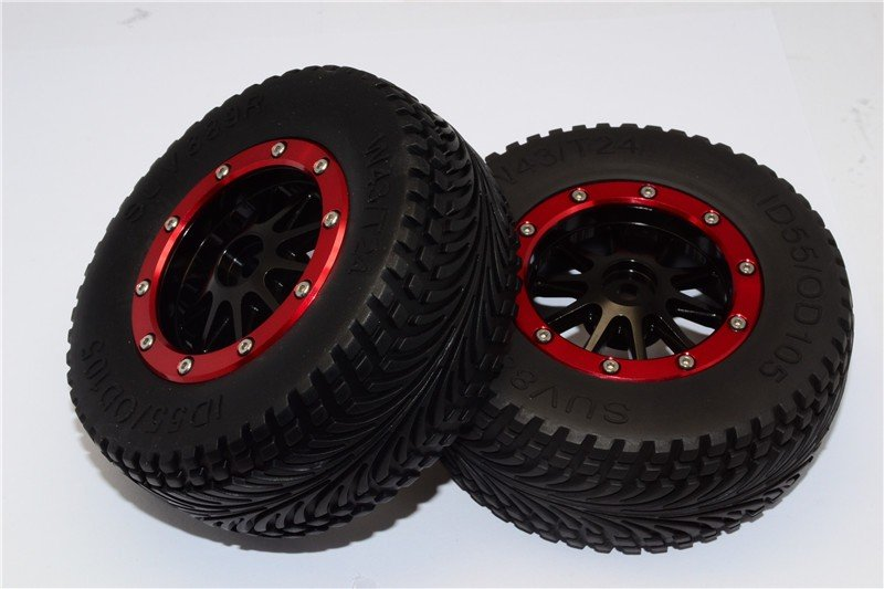 HPI Bullet 3.0 Mt And St (Nitro Engines) Rubber Rear Tires With Nylon Rims Frame & Alloy 10 Poles Beadlock Rims & 12x9mm Drive Adapters - 1pr set - GPM BMT1003R+889