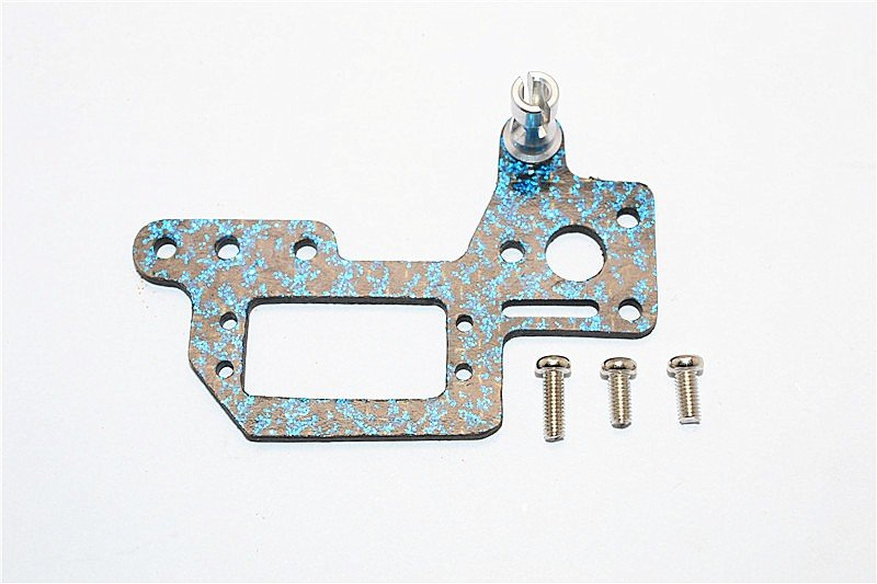 Kyosho Mini Inferno ST /Mini Inferno Graphite Servo Mount Cover With Screws - 1pc set Blue Graphite - GPM GMIF026B