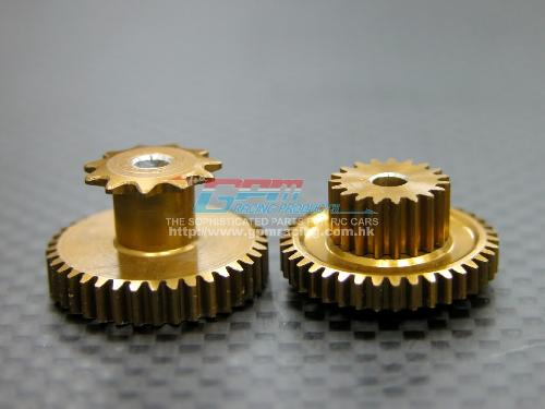 Kyosho Motor Cycle Alloy Wheel Gear Assembly (KM155-19T36T, Km153-11T37T) Install With GPM KM012A Gear Box - 2pcs set - GPM KM1937T