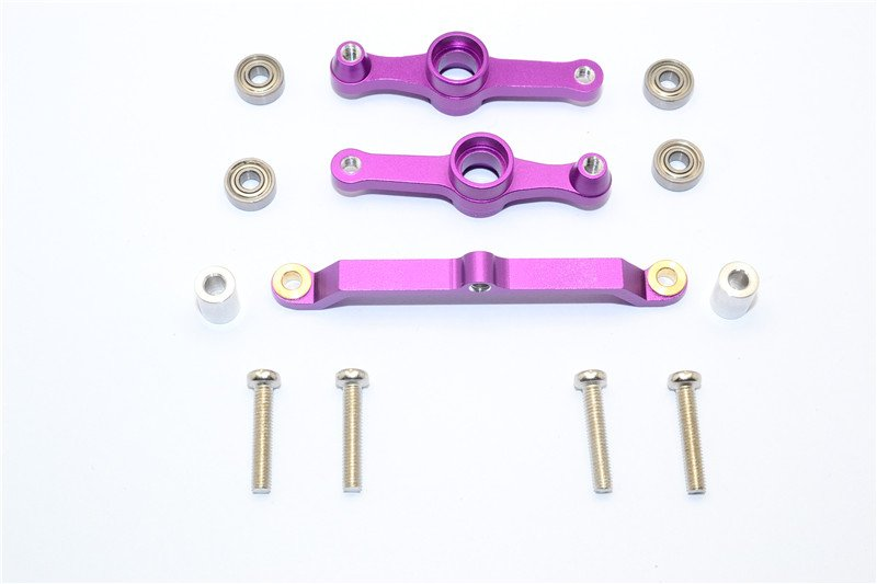 Tamiya DF-02 Alloy Steering Assembly With Collars & Screws - 3pcs set - GPM DF2048
