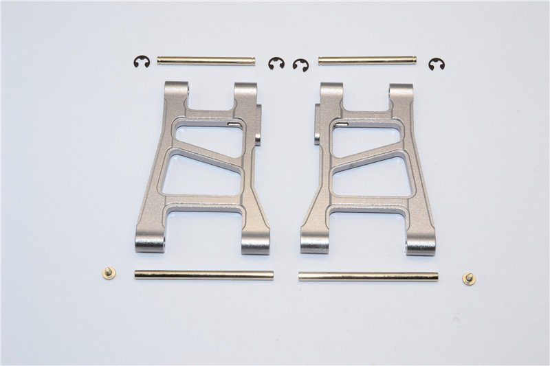 Tamiya DF-02 Alloy Front Lower Arm With Pins & 2.5mm E-clips & Delrin Collars & Screws - 1pr set - GPM DF2055