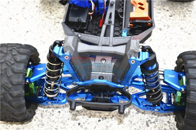 GPM TXMS048-B Aluminum Steering Assembly Blue Traxxas Maxx 12 Pieces Set