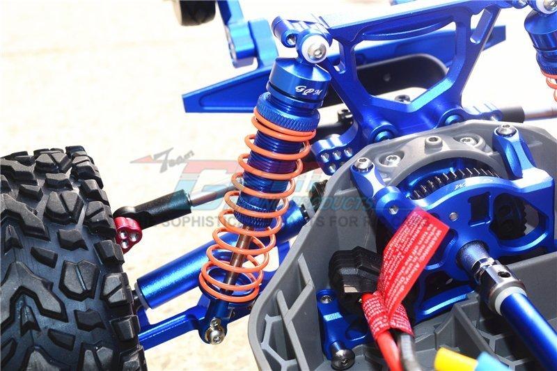 GPM Alum Rear Adjustable L-Shape Piggy Back Shocks 102mm Red Rustler 4x4 VXL