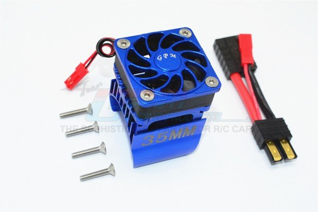 TRAXXAS TRX4 TRAIL CRAWLER  Aluminum 35mm Motor Heat Sink With Cooling Fan - 9pc set - GPM TRX4018FAN