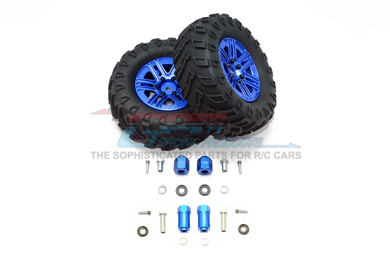 TRAXXAS TRX4 TRAIL CRAWLER 1.9' Aluminum 6 Spokes BBS Rims With Onroad Tires And 12mm Thick Alloy Hex - 12pc set - GPM TRX4889/12MM